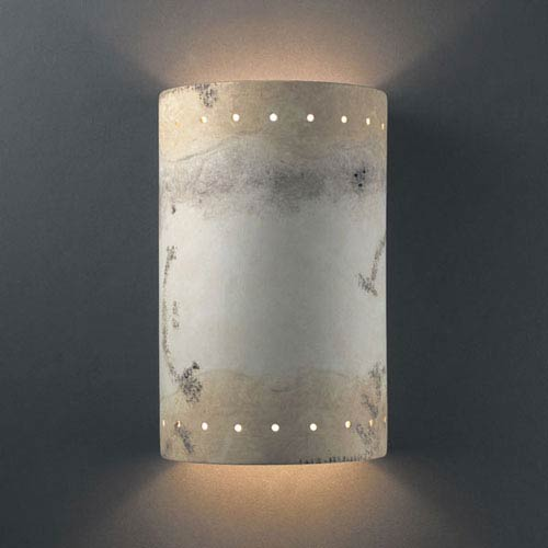 Ambiance Greco Travertine Large Cylinder With Perfs Outdoor Wall Sconce