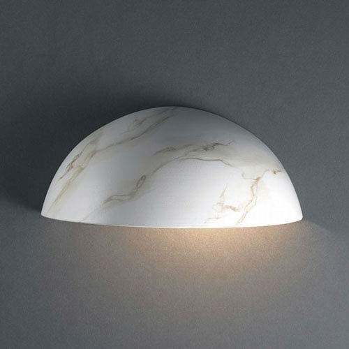 Justice Design Group Ambiance Carrara Marble Small Quarter Sphere Outdoor Wall Sconce