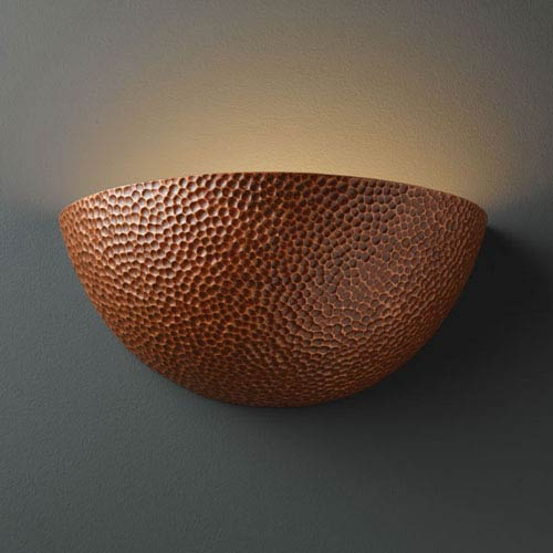 Ambiance Hammered Copper Large Quarter Sphere Bathroom Wall Sconce