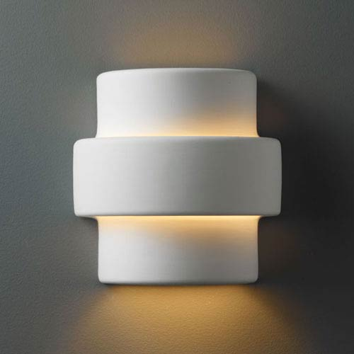 Justice Design Group Ambiance Bisque Small Step Bathroom Wall Sconce