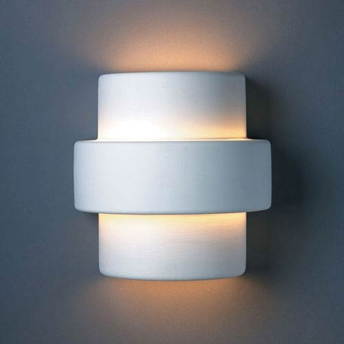 Justice Design Group Ambiance Bisque Large Step Two-Light Bathroom Wall Sconce