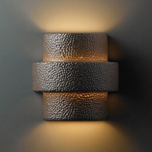 Ambiance Hammered Iron Large Step Two-Light Bathroom Wall Sconce