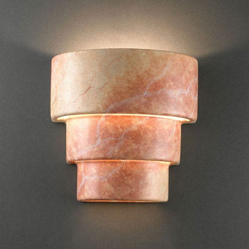 Justice Design Group Ambiance Agate Marble Small Terrace Two-Light Bathroom Wall Sconce