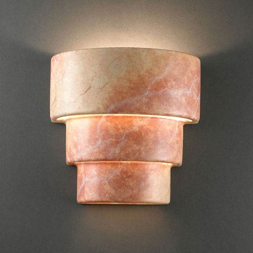 Justice Design Group Ambiance Agate Marble Small Terrace Outdoor Wall Sconce