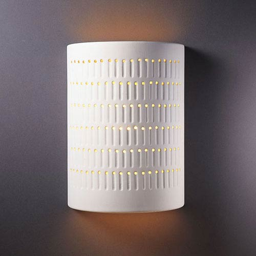 Ambiance Bisque Large Cactus Cylinder Two-Light Bathroom Wall Sconce