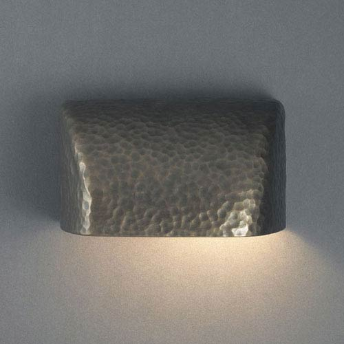 Ambiance Hammered Brass Small Scoop Outdoor Wall Sconce