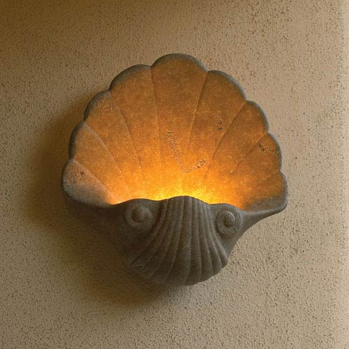 Ambiance Mocha Travertine Shell Light Splash Bathroom Wall Sconce