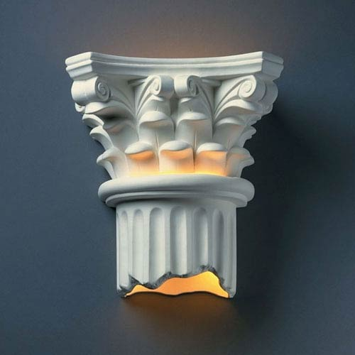 Justice Design Group Ambiance Bisque Corinthian Column Outdoor Wall Sconce