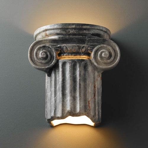 Justice Design Group Ambiance Slate Marble Ionic Column Two-Light Bathroom Wall Sconce
