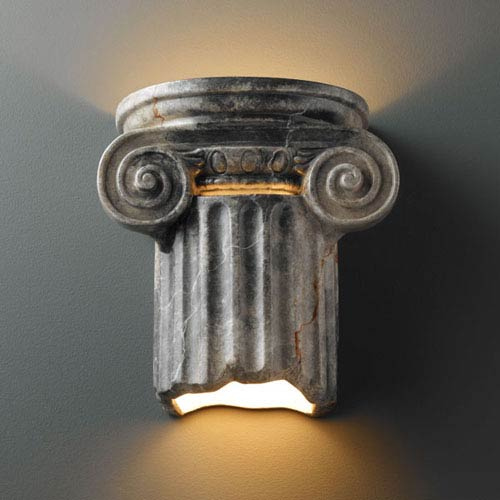 Ambiance Slate Marble Ionic Column Outdoor Wall Sconce