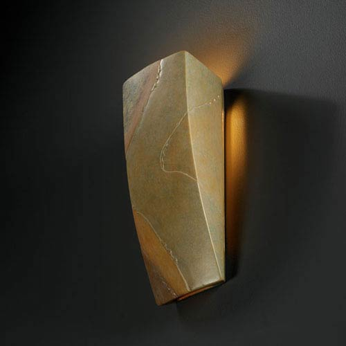 Justice Design Group Ambiance Harvest Yellow Slate Rectangle Bathroom Wall Sconce