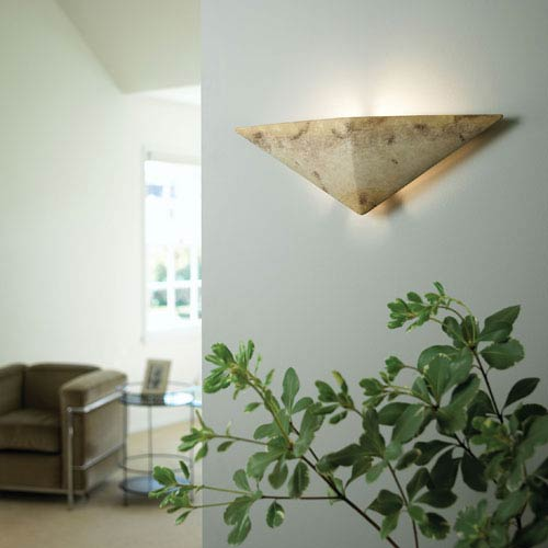 Justice Design Group Ambiance Greco Travertine Triangle Bathroom Wall Sconce