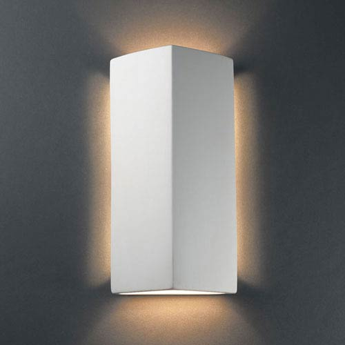 Ambiance Bisque Peaked Rectangle Two-Light Bathroom Wall Sconce