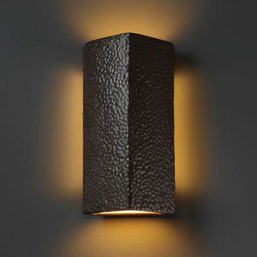 Justice Design Group Ambiance Hammered Iron Peaked Rectangle Two-Light Bathroom Wall Sconce