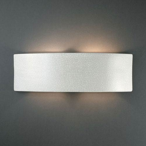 Justice Design Group Ambiance White Crackle Arc Two-Light Bathroom Wall Sconce