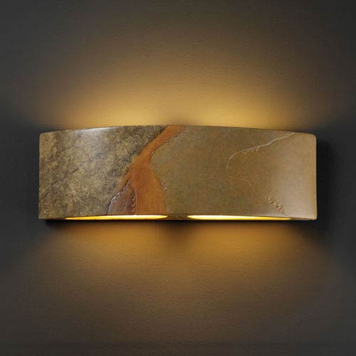 Justice Design Group Ambiance Harvest Yellow Slate Arc Two-Light Bathroom Wall Sconce