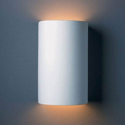 Justice Design Group Ambiance Bisque Large Cylinder Two-Light Bathroom Wall Sconce