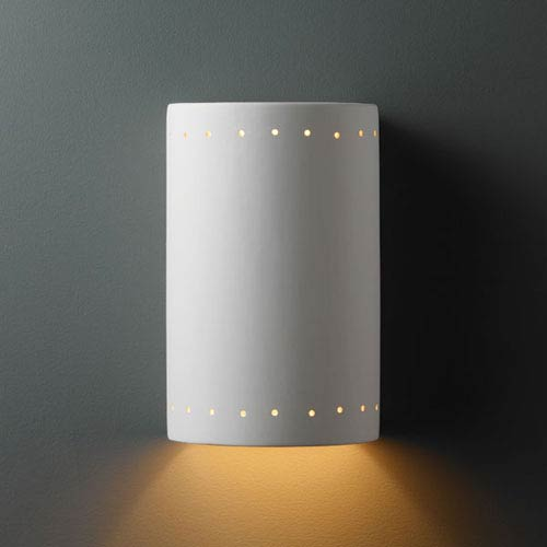 Ambiance Bisque Large Cylinder With Perfs Bathroom Wall Sconce
