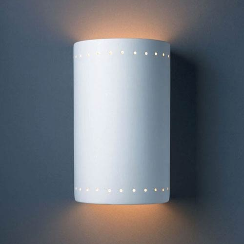 Justice Design Group Ambiance Bisque Large Cylinder With Perfs Two-Light Bathroom Wall Sconce