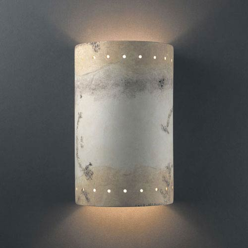 Justice Design Group Ambiance Greco Travertine Large Cylinder With Perfs Two-Light Bathroom Wall Sconce