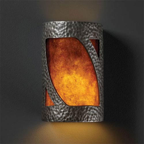 Ambiance Hammered Pewter Small Lantern Bathroom Wall Sconce