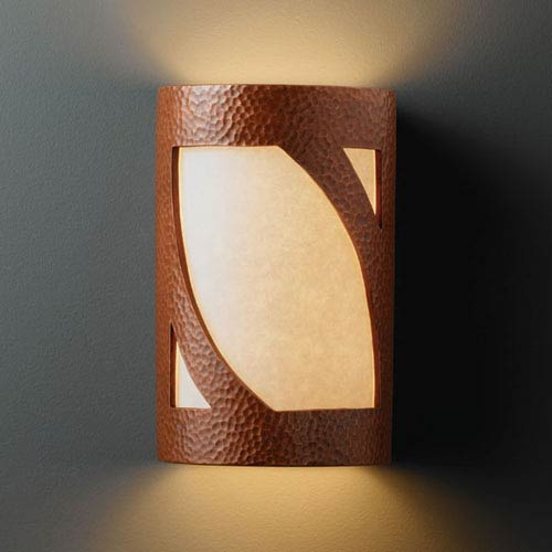 Justice Design Group Ambiance Hammered Copper Large Lantern Two-Light Bathroom Wall Sconce