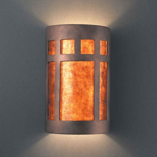 Justice Design Group Ambiance Antique Copper Small Prairie Window Bathroom Wall Sconce