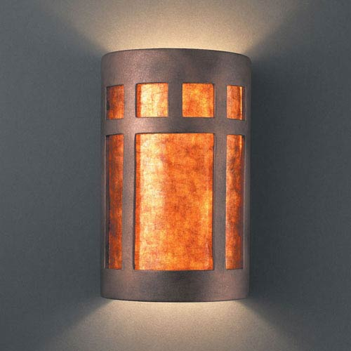 Justice Design Group Ambiance Antique Copper Large Prairie Window Two-Light Bathroom Wall Sconce