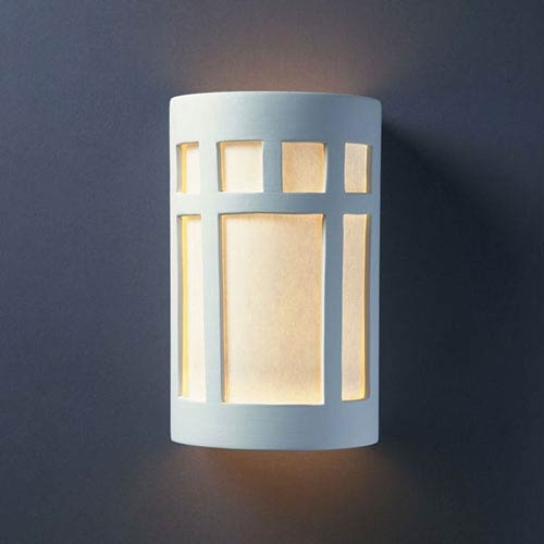Justice Design Group Ambiance Bisque Large Prairie Window Two-Light Bathroom Wall Sconce