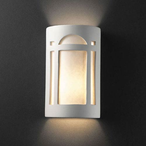 Justice Design Group Ambiance Bisque Small Arch Window Bathroom Wall Sconce