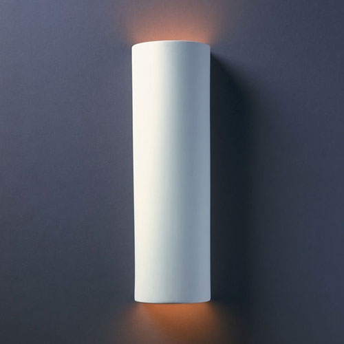 Justice Design Group Ambiance Bisque Tube Two-Light Bathroom Wall Sconce