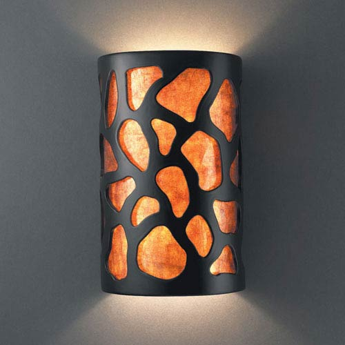 Ambiance Harvest Yellow Slate Large Cobblestones Two-Light Bathroom Wall Sconce