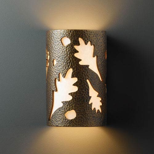 Ambiance Hammered Brass Small Oak Leaves Bathroom Wall Sconce