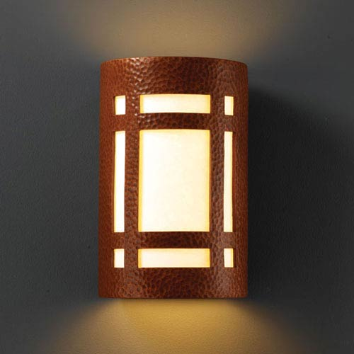 Ambiance Antique Copper Small Craftsman Window Bathroom Wall Sconce