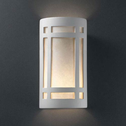 Ambiance Bisque Large Craftsman Window Two-Light Bathroom Wall Sconce
