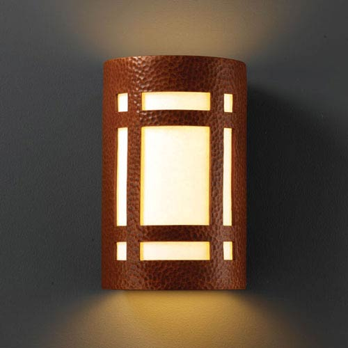 Ambiance Hammered Copper Large Craftsman Window Two-Light Bathroom Wall Sconce