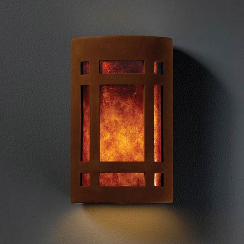 Justice Design Group Ambiance Real Rust Large Craftsman Window Two-Light Bathroom Wall Sconce