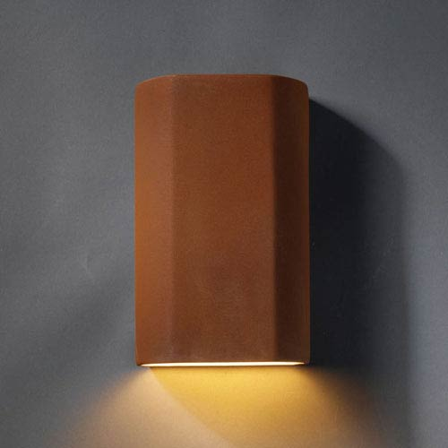 Ambiance Real Rust Cylinder Bathroom Wall Sconce