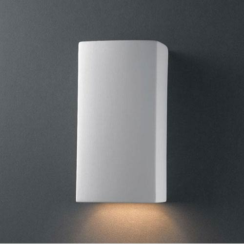 Justice Design Group Ambiance Bisque Small Rectangle Bathroom Wall Sconce