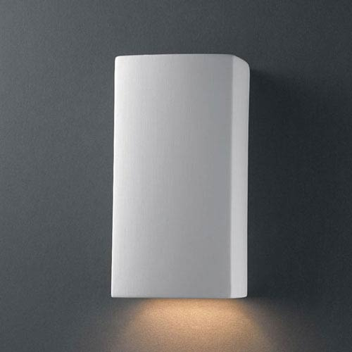 Justice Design Group Ambiance Bisque Small Rectangle Outdoor Wall Sconce