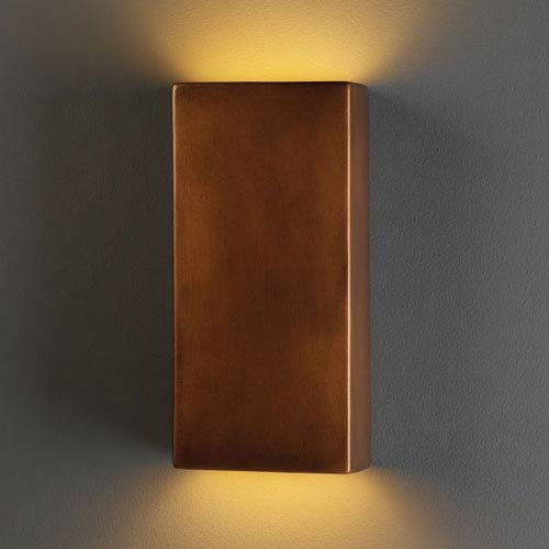 Justice Design Group Ambiance Antique Copper Large Rectangle Two-Light Bathroom Wall Sconce