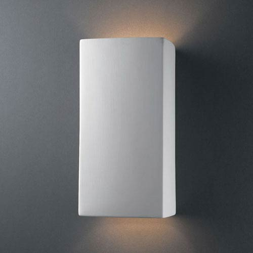 Justice Design Group Ambiance White Crackle Large Rectangle Two-Light Bathroom Wall Sconce