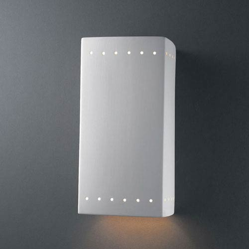 Justice Design Group Ambiance Bisque Large Rectangle With Perfs Bathroom Wall Sconce