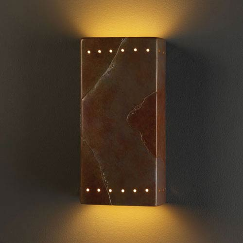 Justice Design Group Ambiance Tierra Red Slate Large Rectangle With Perfs Two-Light Bathroom Wall Sconce
