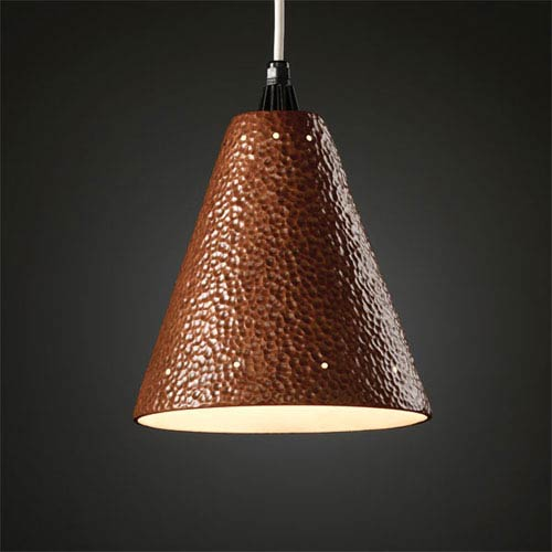 Justice Design Group Radiance Hammered Copper Cone With Perfs Mini Pendant