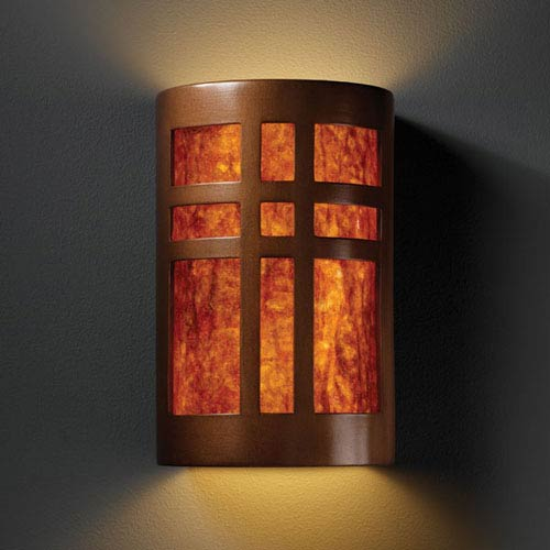 Ambiance Antique Copper Small Cross Window Bathroom Wall Sconce