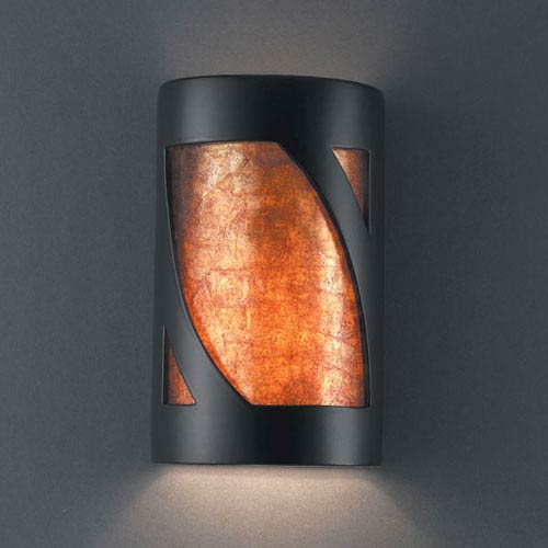 Justice Design Group Ambiance Carbon Matte Black Small Lantern Bathroom Wall Sconce