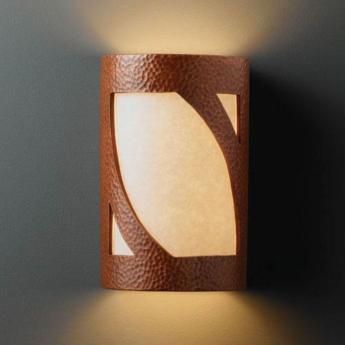 Justice Design Group Ambiance Hammered Copper Small Lantern Bathroom Wall Sconce