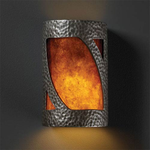 Justice Design Group Ambiance Hammered Pewter Small Lantern Bathroom Wall Sconce