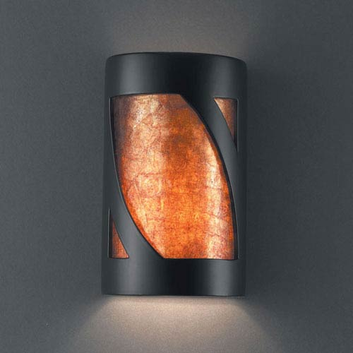 Justice Design Group Ambiance Carbon Matte Black Large Lantern Two-Light Bathroom Wall Sconce